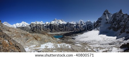 Panorama view of Everest from the Renjo Pass Gokyo region - Nepal - stock photo