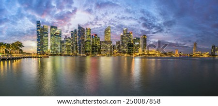 Panorama view of Financial Building in Marina Bay, Singapore with twilight sky - stock photo