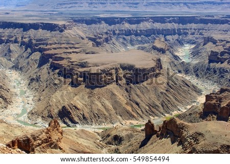 Panorama view of Fish River Canyon in southern Namibia, Africa. The second largest canyon of the world after the Grand Canyon in the United States.