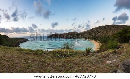Panorama view of Hanauma Bay in the morning - stock photo