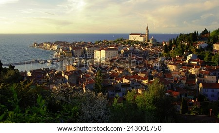 Panorama view of historical town Piran, Slovenia, Europe while sunset.