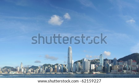 Panorama view of Hong Kong skyline