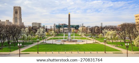 Panorama view of Indiana  Veterans Memorial Plaza in downtown Indianapolis