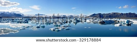 Panorama view of Jokulsarlon glacial lake in Iceland - stock photo