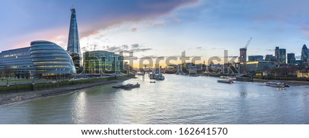 panorama view of London city at twilight - stock photo
