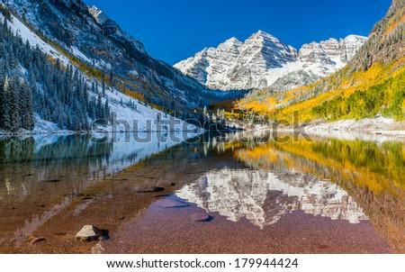 Panorama view of Maroon Bells national park in Falls, Aspen, Colorado - stock photo