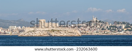 """Panorama view of Marseille and the ancient castle """"Chateau dIf"""" in South France  - stock photo"""