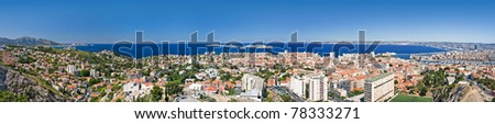 panorama view of marseille, france - stock photo