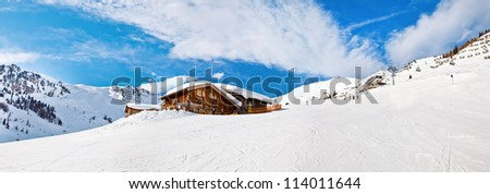 Panorama view of Mayrhofen winter resort, Austria - stock photo