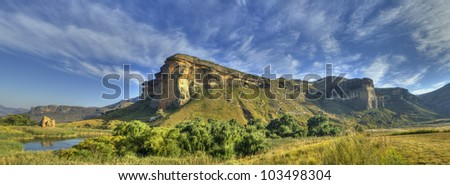 Panorama view of mountain in Golden Gate National Park South Africa - stock photo