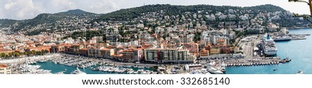 Panorama view of Nice and Marina, France. - stock photo