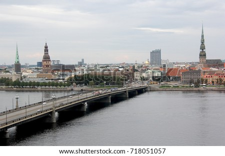 Panorama view of Riga city, capital of Latvia. The embankment of the Daugava River near Stone Bridge.