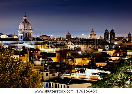 Panorama view of Rome city at night