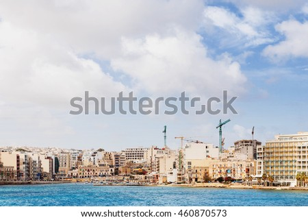 Panorama view of Saint Julians Bay in Malta.