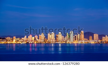 Panorama view of San Diego downtown skyline - stock photo