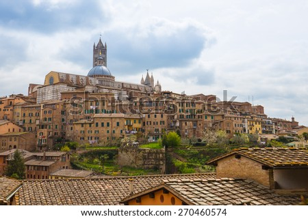 Panorama view of Siena in Tuscany, Italy - stock photo