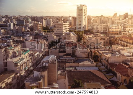 Panorama view of southern part of Nicosia, capital and largest city on the island of Cyprus - stock photo