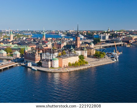 Panorama View of Stockholm Old City, Sweden  - stock photo