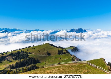 Panorama view of the alps on op of Rigi mountain, a famous tourism place near Lucerne, Switzerland - stock photo