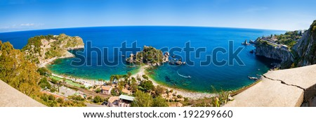 panorama view of the beach and island Isola Bella in Taormina, Sicily - stock photo