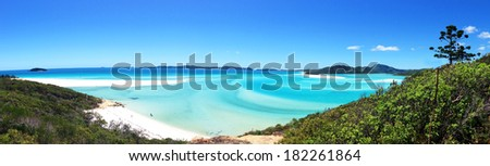 Panorama view of the beautiful Whitehaven Beach in the Whitsunday Islands, Queensland, Australia - stock photo