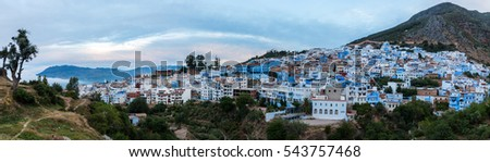 Panorama view of the blue city of Chefchaouen located in Morocco, Africa.