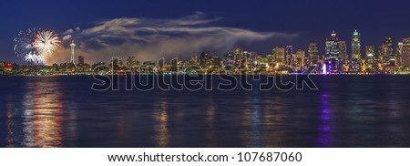 Panorama view of the City of Seattle on the Fourth of July - stock photo