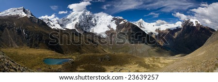 panorama view of the cordillera blanca in peru