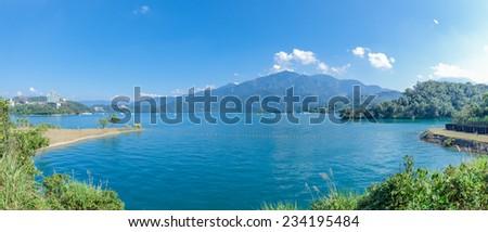 Panorama view of the famous Sun Moon Lake in Taiwan - stock photo