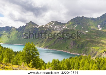 panorama  view of the lake of Ritom and the alps in Canton Ticino of Switzerland.
