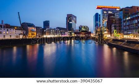 Panorama view of the Media harbor in Dusseldorf in the early evening, Germany.