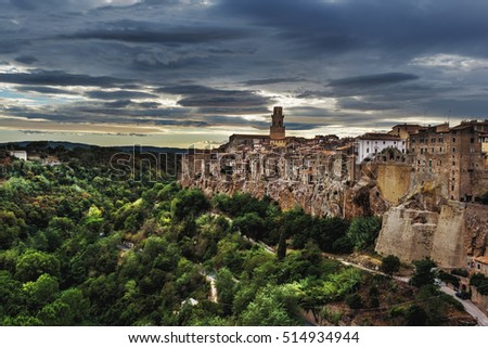 Panorama view of the medieval town in Tuscany, situated on a cliff.