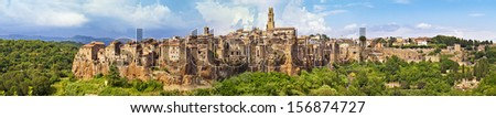Panorama view of the Pitigliano, Italy