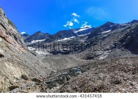 Panorama view of Tre-la-Tete glacier in French Alps, near the Domes-de-Miage towards Mont Blanc, France. - stock photo