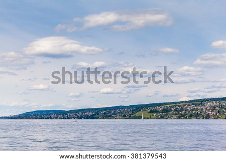 Panorama view of Zurich Lake with beautiful cloudscape.