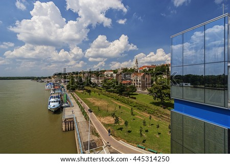Panorama view on Belgrade fortress and old part of town, on confluence of two rivers