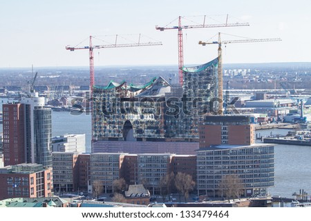 Panorama view on Hamburg from Michel church (Elbphilharmonic building), Germany - stock photo