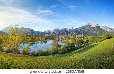 Panorama view over Saalfelden, Austria - stock photo