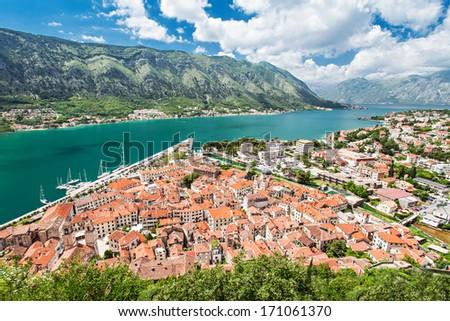 Panorama view to Kotor bay in Montenegro - stock photo