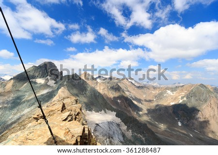 Panorama view with mountain Grossvenediger and glaciers in Hohe Tauern Alps, Austria