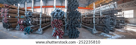 Panorama warehouse pipes. Oil and gas industry - stock photo