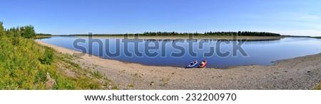Panorama, wild Ural river. Polar Ural, Komi Republic, Russia. - stock photo