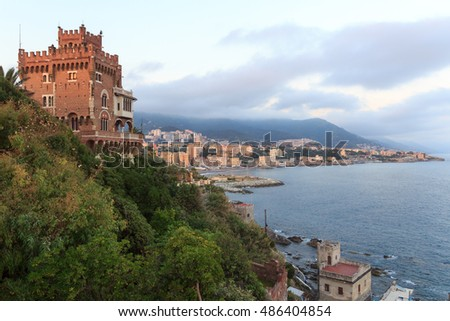 Panorama with Boccadasse castle, coast and Mediterranean Sea, Genoa, Italy