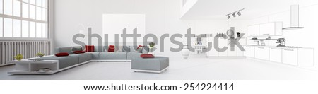 Panorama with eat-in-kitchen tranforming from rendering to wireframe mesh (3D Rendering) - stock photo