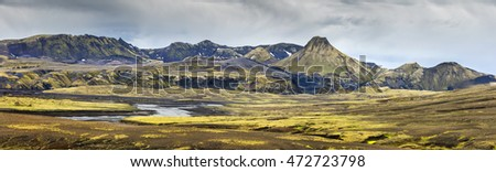 panorama with errupted crater of volcano in Iceland