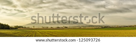 Panorama with field and famous Sleza Mountain, Poland