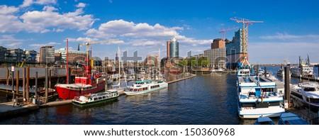 panorama with hafencity in hamburg, germany - stock photo