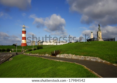 panorama with lighthouse, Plymouth, UK - stock photo
