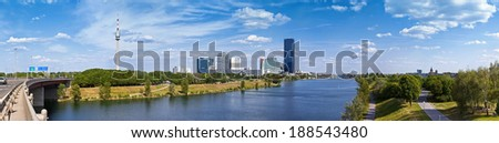 Panorama with the amazing Skyline of Donau City Vienna and the brand new DC-Tower,  the tallest skyscraper in Austria. - stock photo