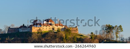 panorama with the fortress of Brasov in Transylvania, Romania - stock photo